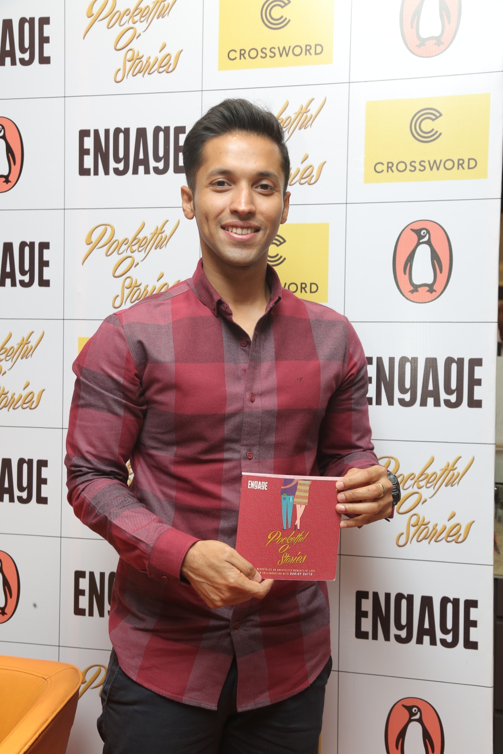 Author Durjoy Datta with the newly curated book Pocketful o'stories at Crossword Bookstores Malad.