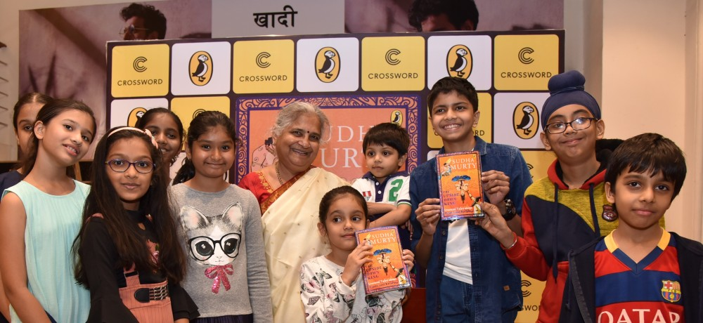 At the launch of The Upside Down King -Sudha Murty with kidsat Crossword Kemps corner