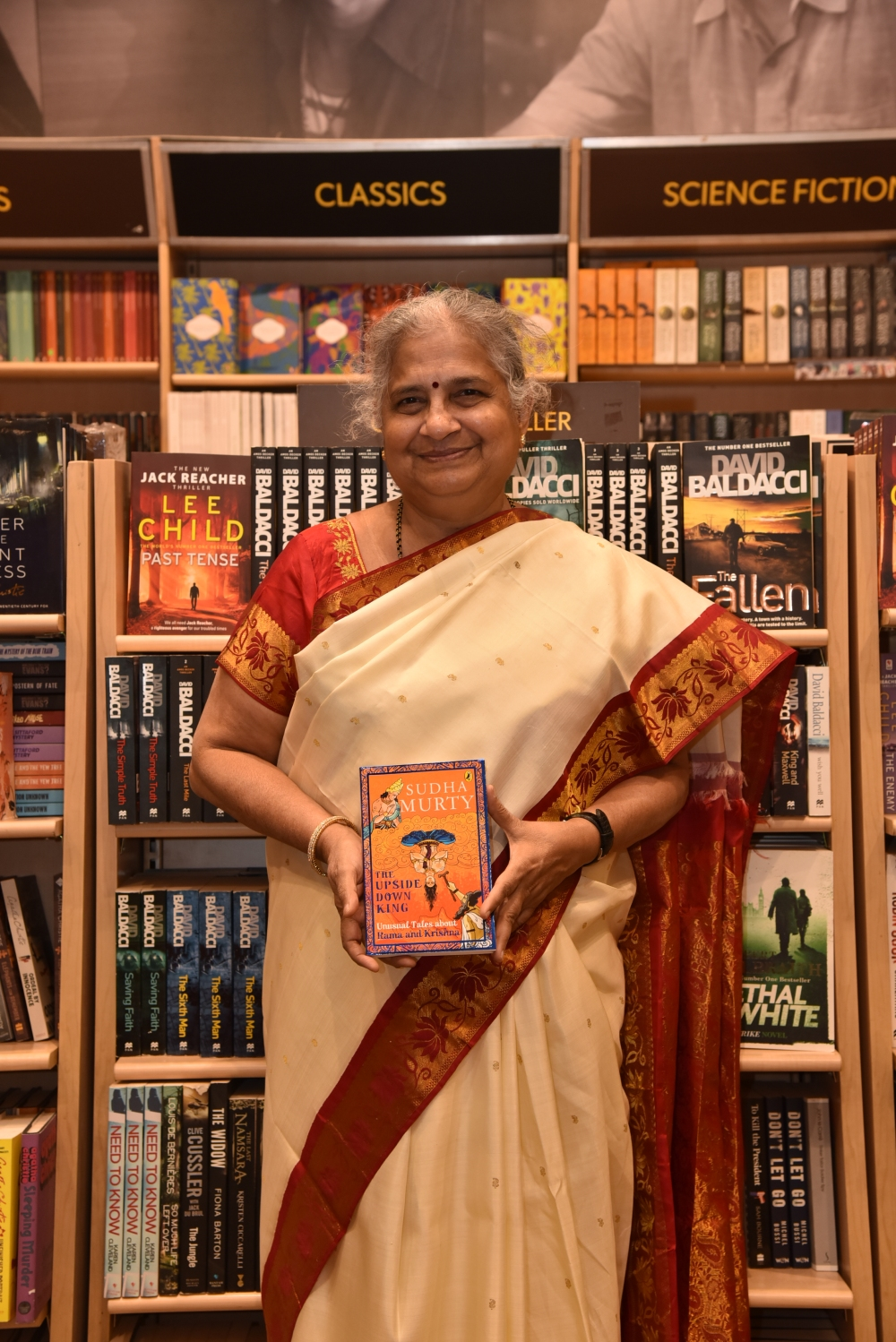Bestselling children author Sudha Murty at Crossword Kemps corner for launch of her new book The Upside Down King in Mumbai
