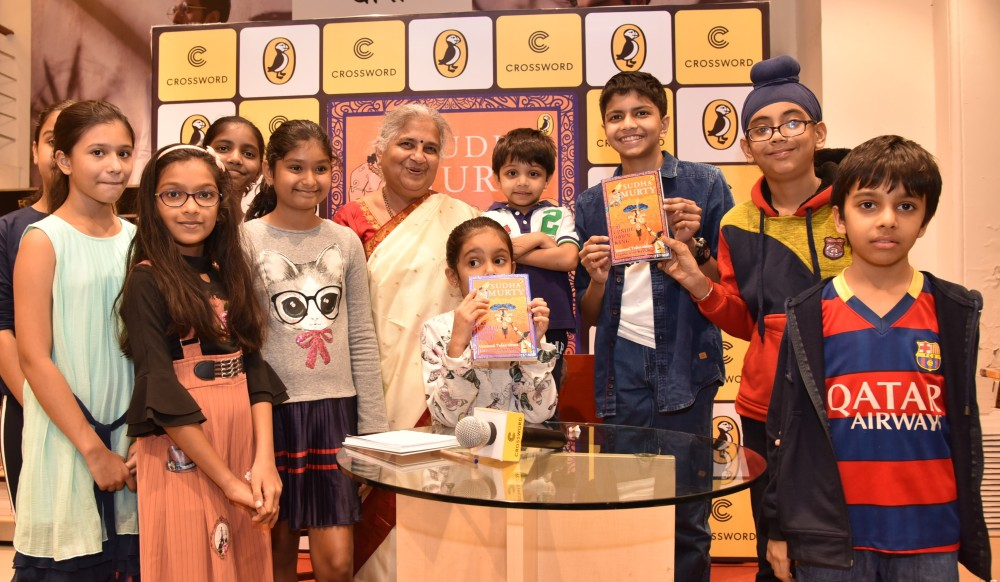 Kids at Crossword with bestselling author Sudha Murty launching The Upside Down King, the third book in a series of unusual stories in Indian mythology