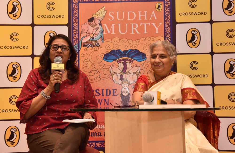 RJ Anita in conversation with author Sudha Murty at the launch of The Upside Down King at Crossword in Mumbai.jpg